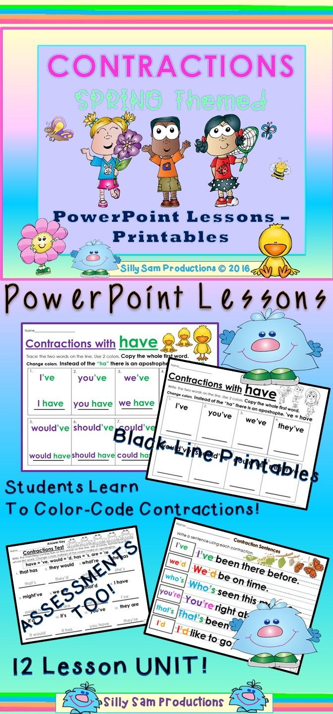 CONTRACTIONS! SPRING THEMED! Color Coded PowerPoint Lessons with ...