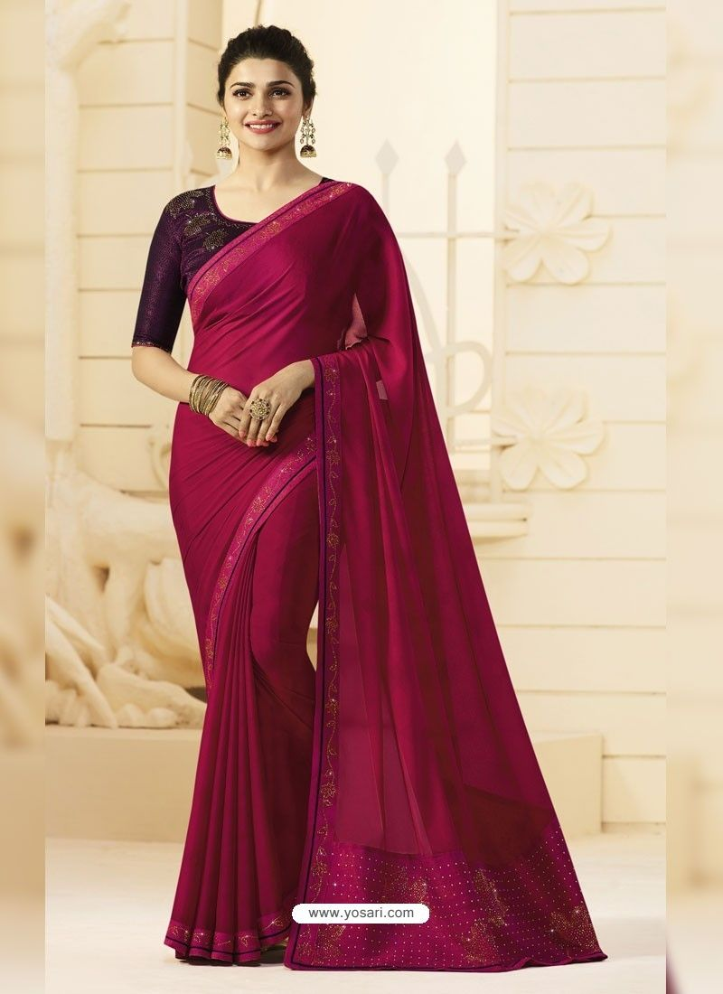 cd3e2e4cb9 Deep Wine Georgette Silk Designer Party Wear Saree in 2019 ...