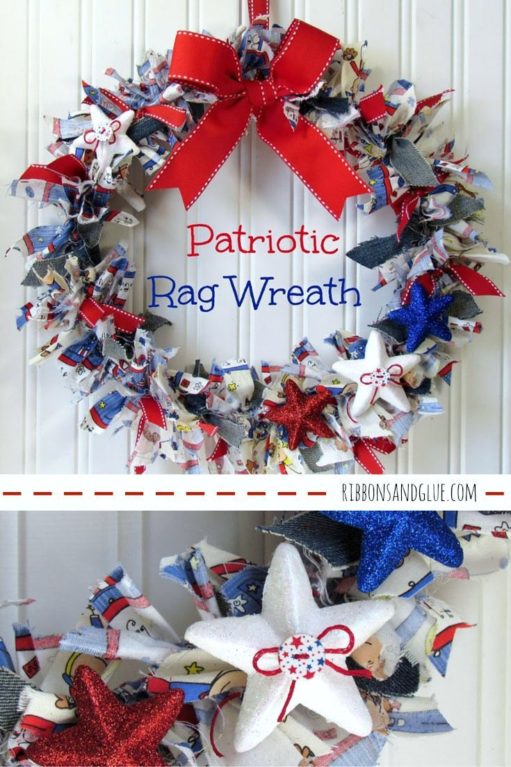 Summer Door Wreath Patriotic Fabric Wreath Folded Fabric Wreath