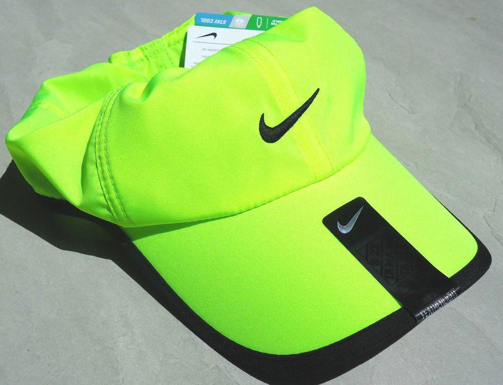 9017d7348e6 Neon Lime NIKE Golf Men-Women s Runner DRI-FIT Tennis Hat Featherlight Cap