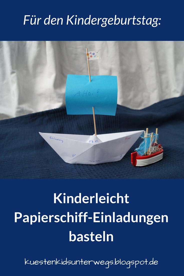 DIY Papierschiff Einladungen für den Kindergeburtstag basteln