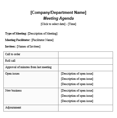 Formal Meeting Agenda Template  Official Templates