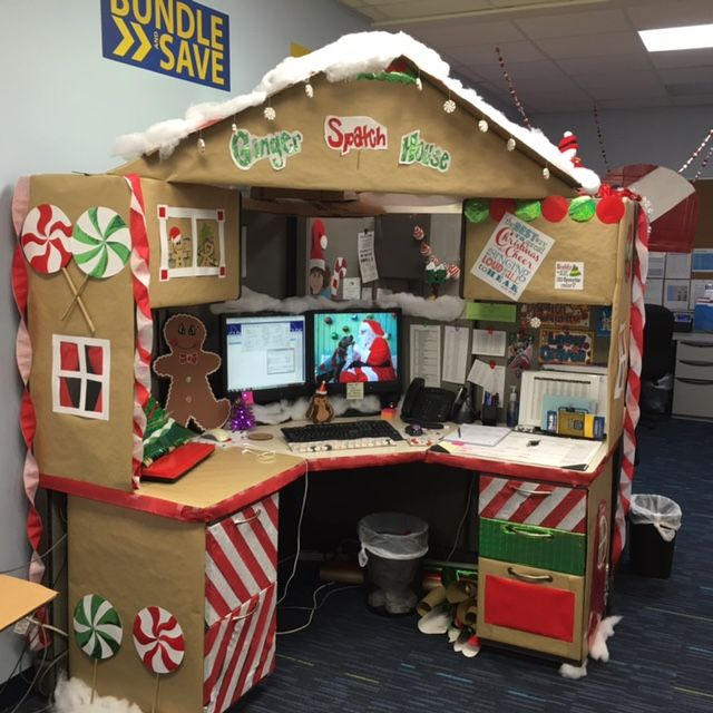 Work desk decorations gingerbread desk christmas desk Cubicle desk decorating ideas