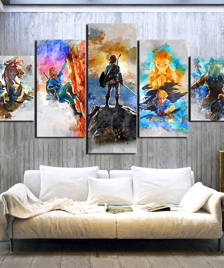 Home Decor Prints Painting 5 Panel The Legend Of Zelda Pictures Game Wall Art Modular Canvas Poster Modern Bedside Background Gaming Wall Art Wall Art Decor Living Room Canvas Art Wall Decor