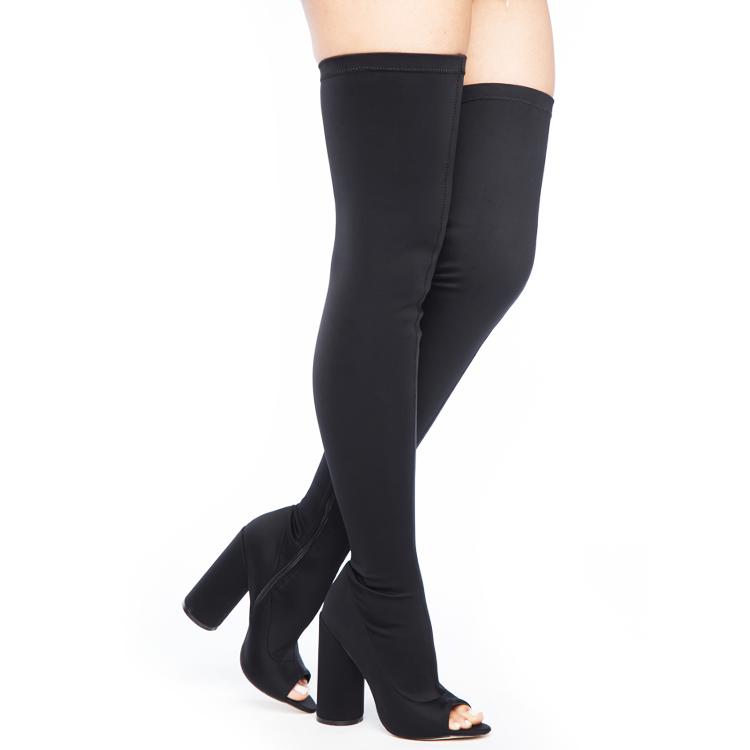 Stretch Lycra Peep Toe Thigh High Boots