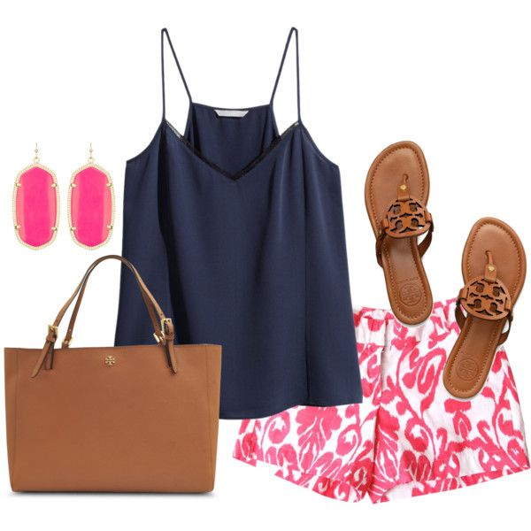 e95b5c91f211 Pink and Navy preppy outfit. Tory burch sandals Pink shorts