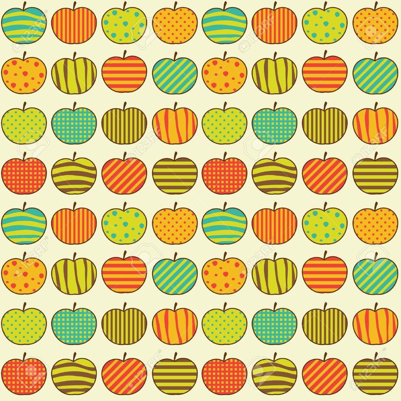 Vintage kitchen wallpaper patterns - Seamless Retro Pattern With Apples