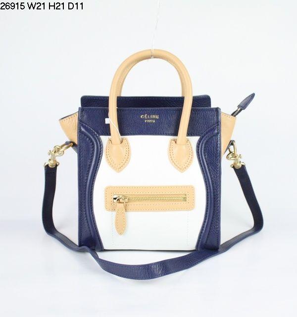 blue black and white celine bag