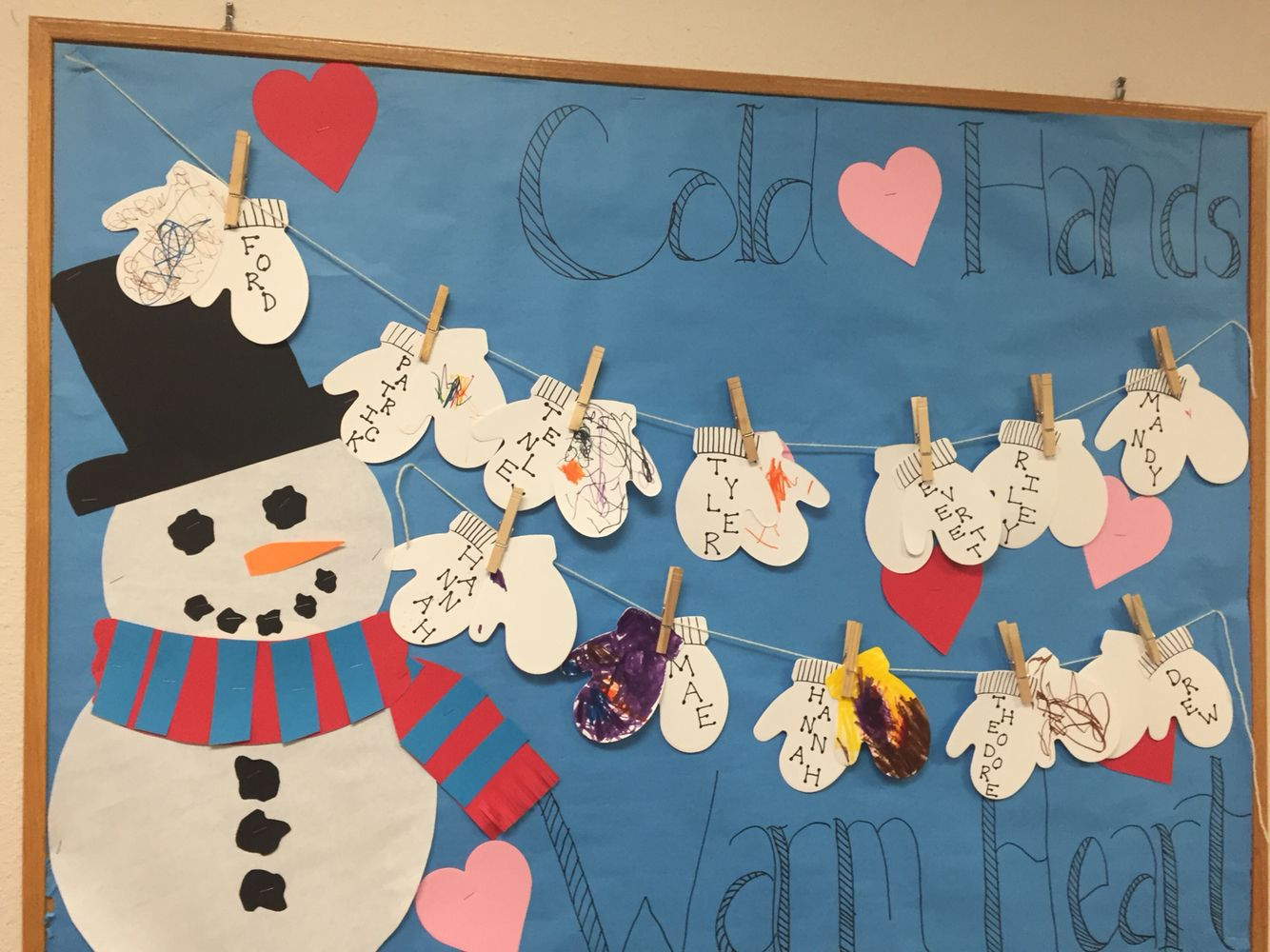 January/February bulletin board. Let kids decorate the mittens.