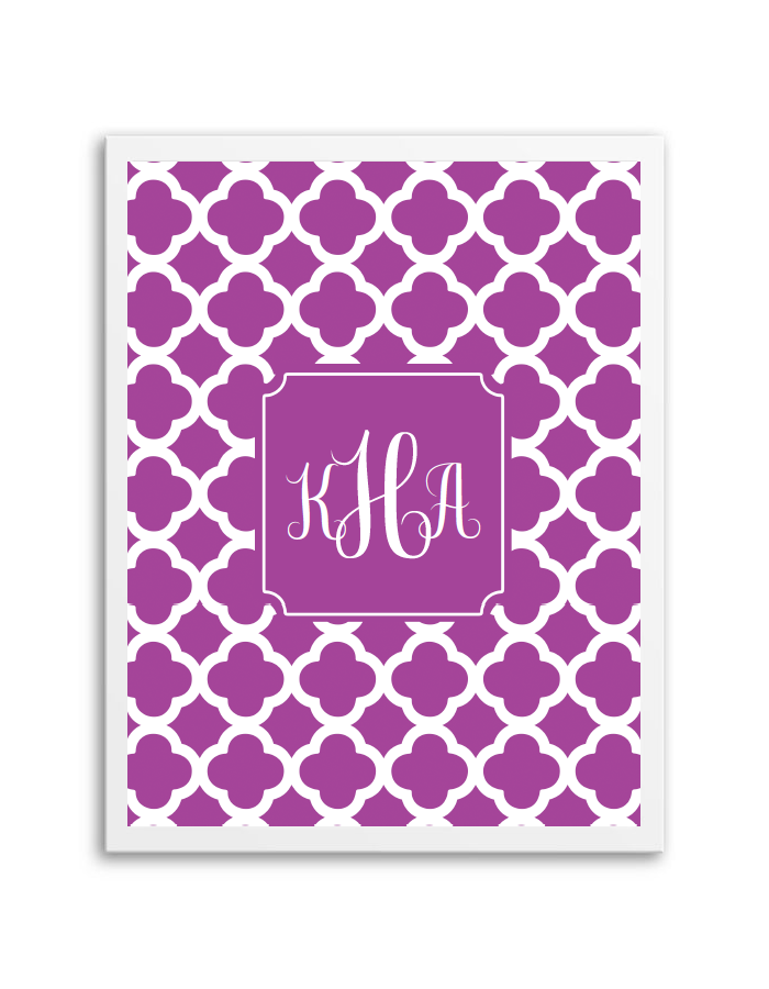 Quatrefoil Monogram (Purple)