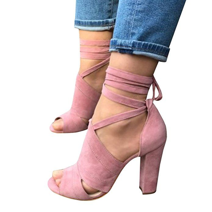 Syktkmx Womens Strappy Lace up Pumps Peep Toe Ankle Wrap High Chunky Block  Heel Sandals  