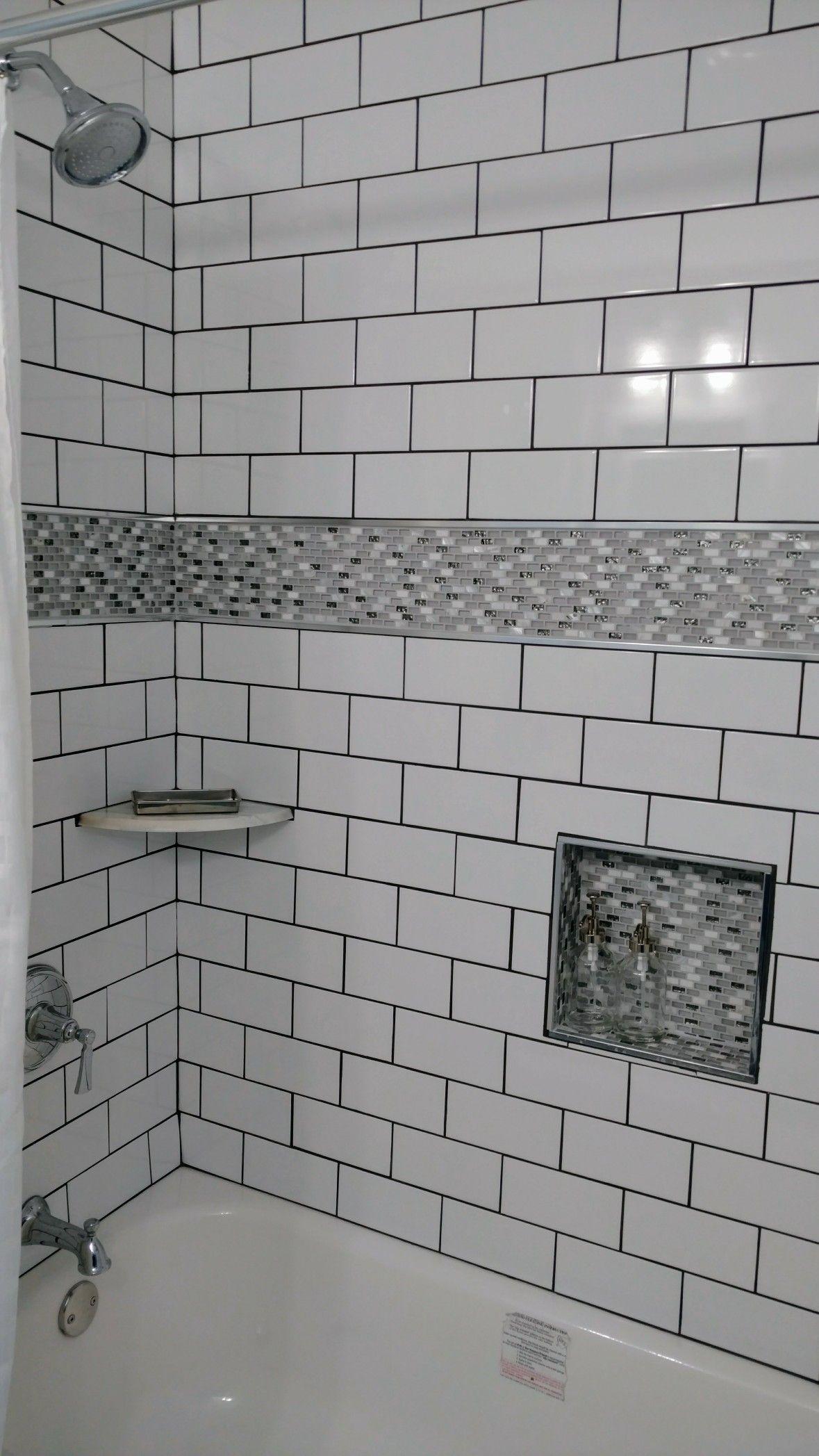 White Subway Tiles Glass Tile Niche Marble Corner Shelf Chrome