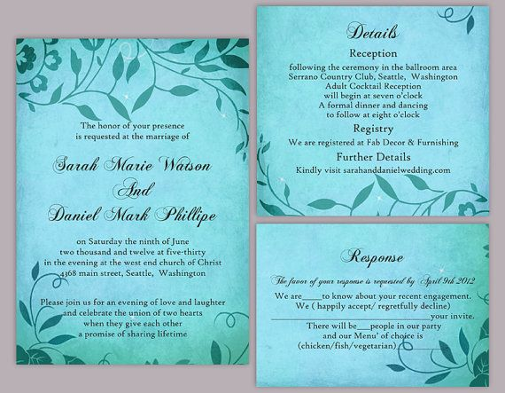 DIY Rustic Wedding Invitation Template Set Editable Word File - download free wedding invitation templates for word