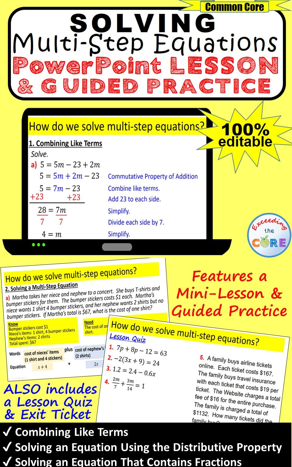 SOLVING MULTI-STEP EQUATIONS PowerPoint Mini-Lesson & Guided