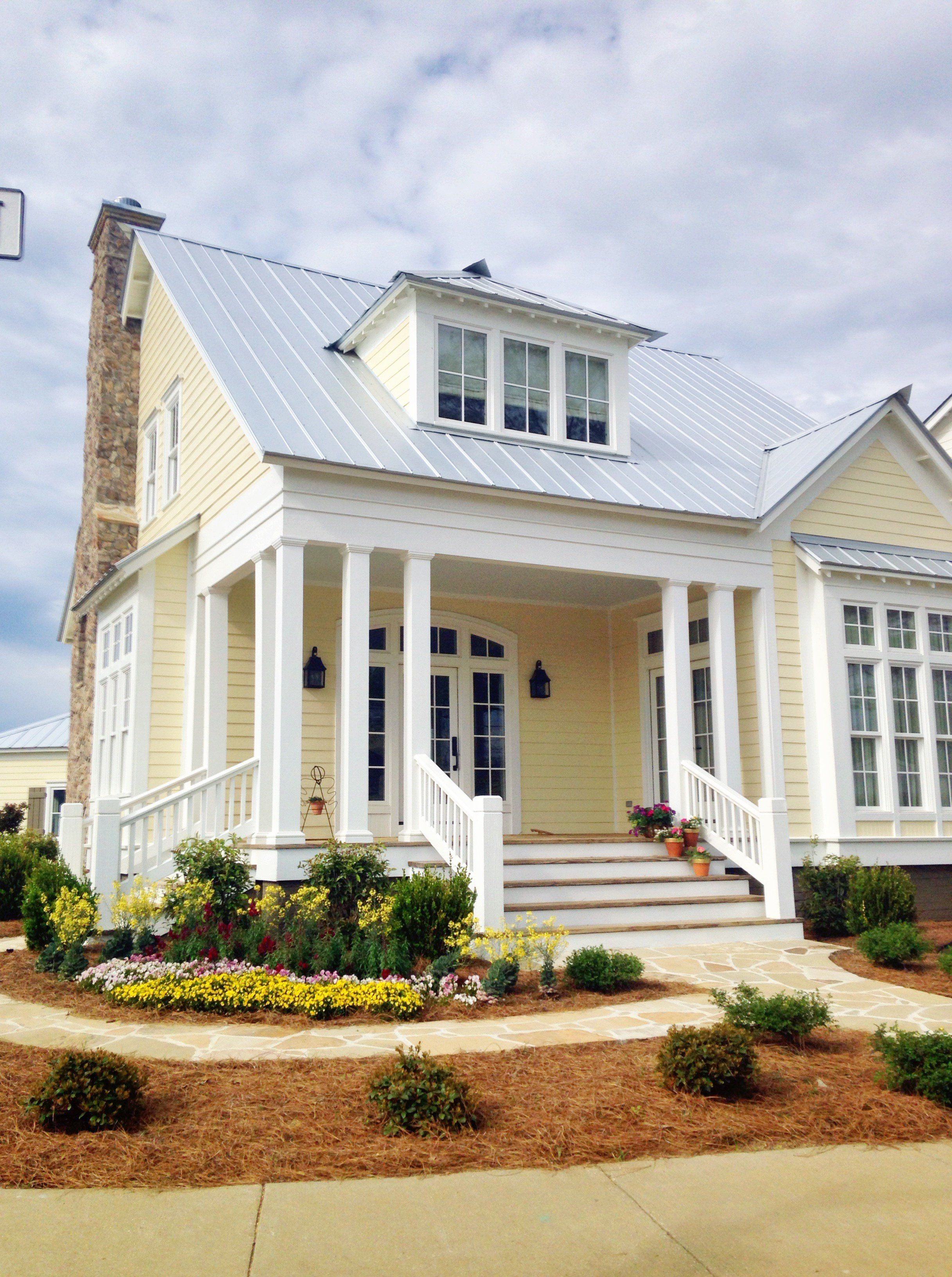 Paint House Yellow With White Trim And Metal Roof
