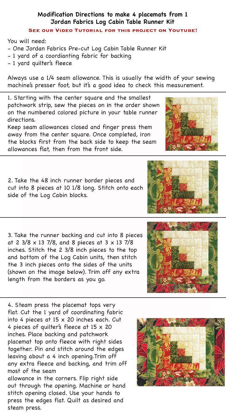 Log cabin placemat pattern  jordan fabrics also tolivier telus rh pinterest