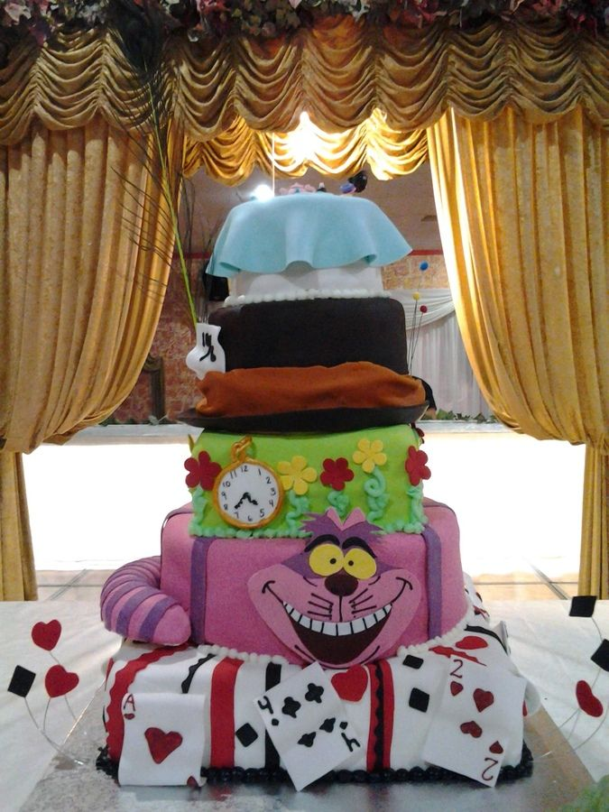 Alice In Wonderland Quinceanera Theme Quince Cake