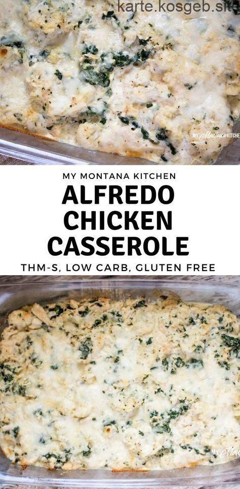 Alfredo Chicken Casserole (Low Carb, THM-S, Gluten Free) - -  Alfredo Chicken Casserole (kohlenhydratarm, THM-S, glutenfrei) Kohlehydrate