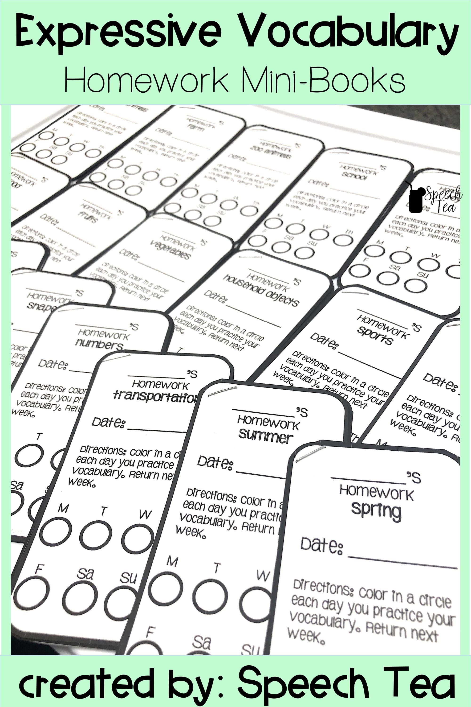 Expressive Vocabulary Homework Minibooks