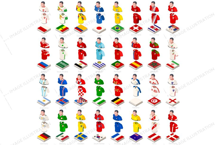 World Cup Flags And Jersey Kit Image Illustration World Cup World Cup Kits Isometric Illustration