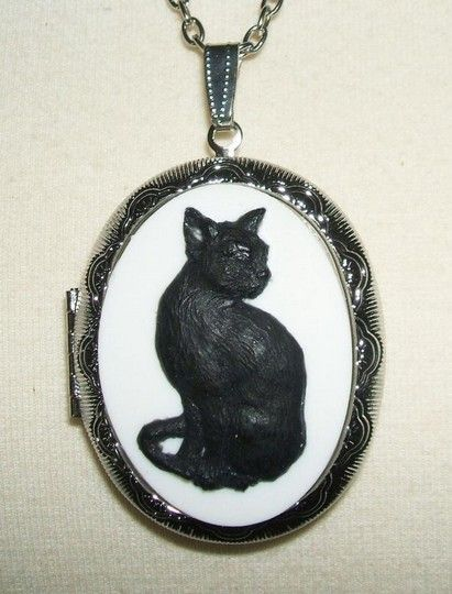 cats animals cameo cat black locket pin lockets sitting necklace pendant