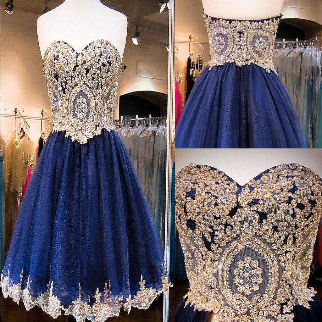 Short aline sweetheart sleeveless lace rhinestone beads royal blue