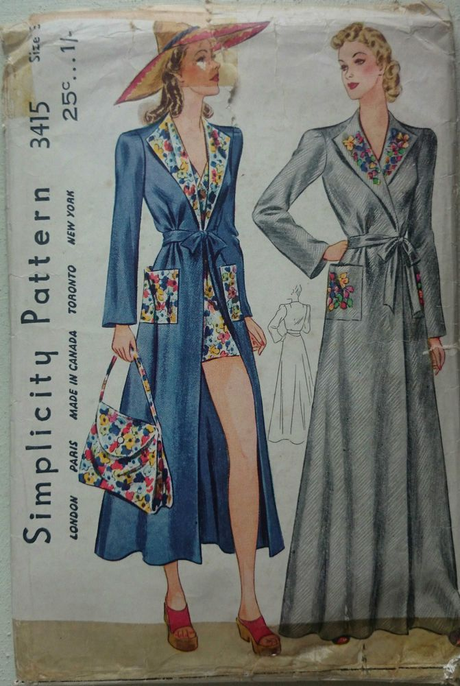 Vintage 1940s Sewing Pattern Simplicity 3415 House Coat - Beach Robe ...