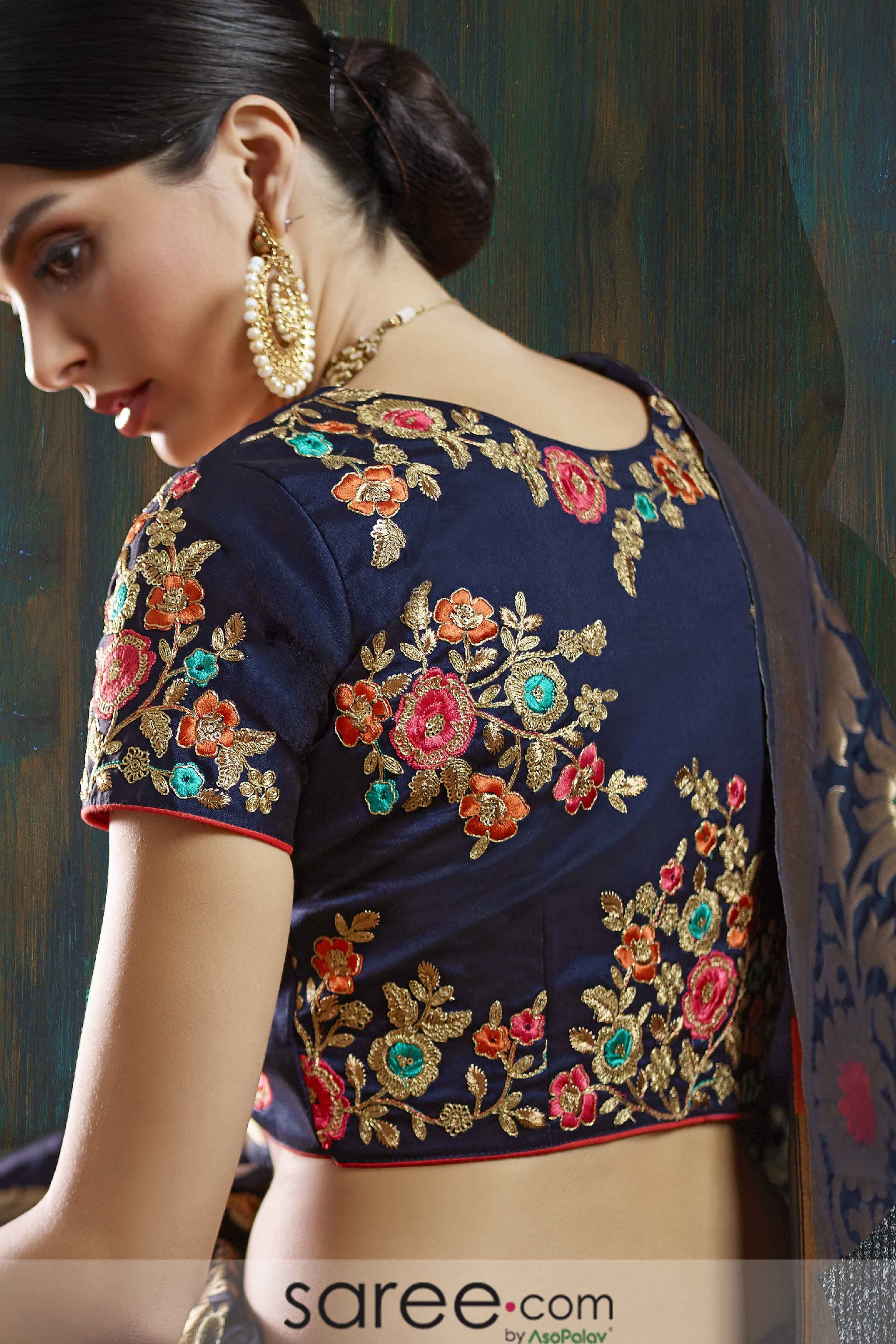979377eb8449b9 Royal blue round neck blouse