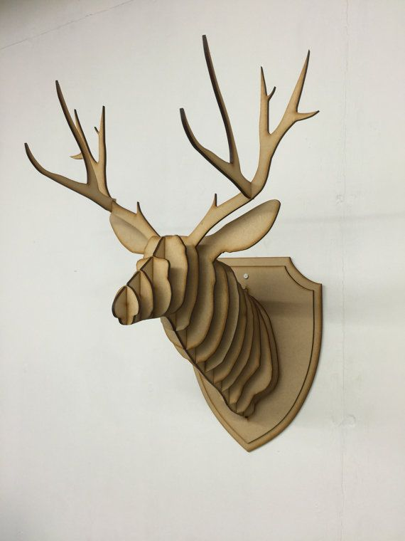 fascinating Deer Head Wall Art Part - 7: Large- Small Wooden Deer Head Kit Wall Art Decor - Laser Cut Stag Head With  Antlers 3D Animal Head