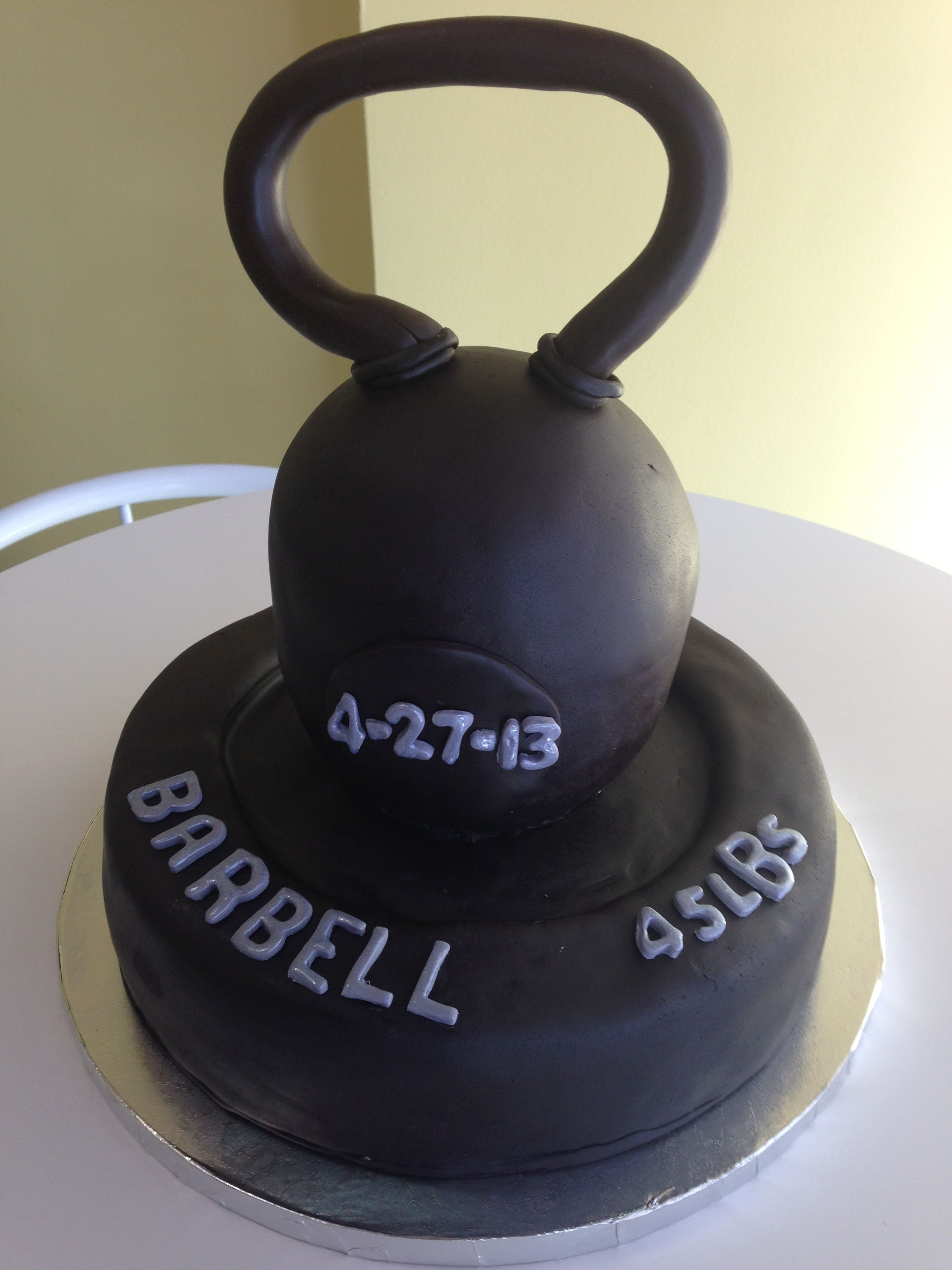 Kettlebell and barbell cake fitness cake gym cake