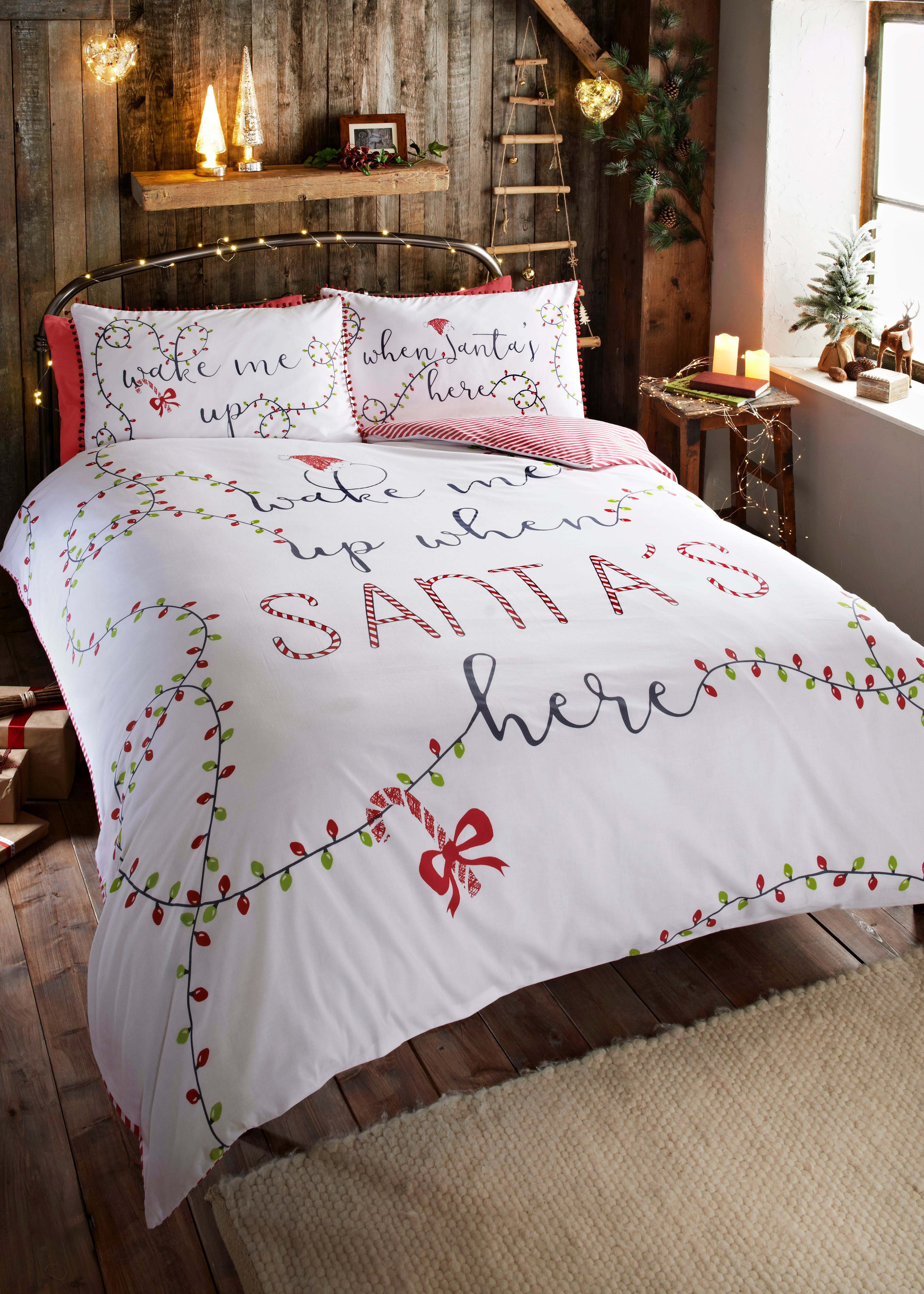 Slogan Pom Pom Christmas Duvet Cover White Christmas