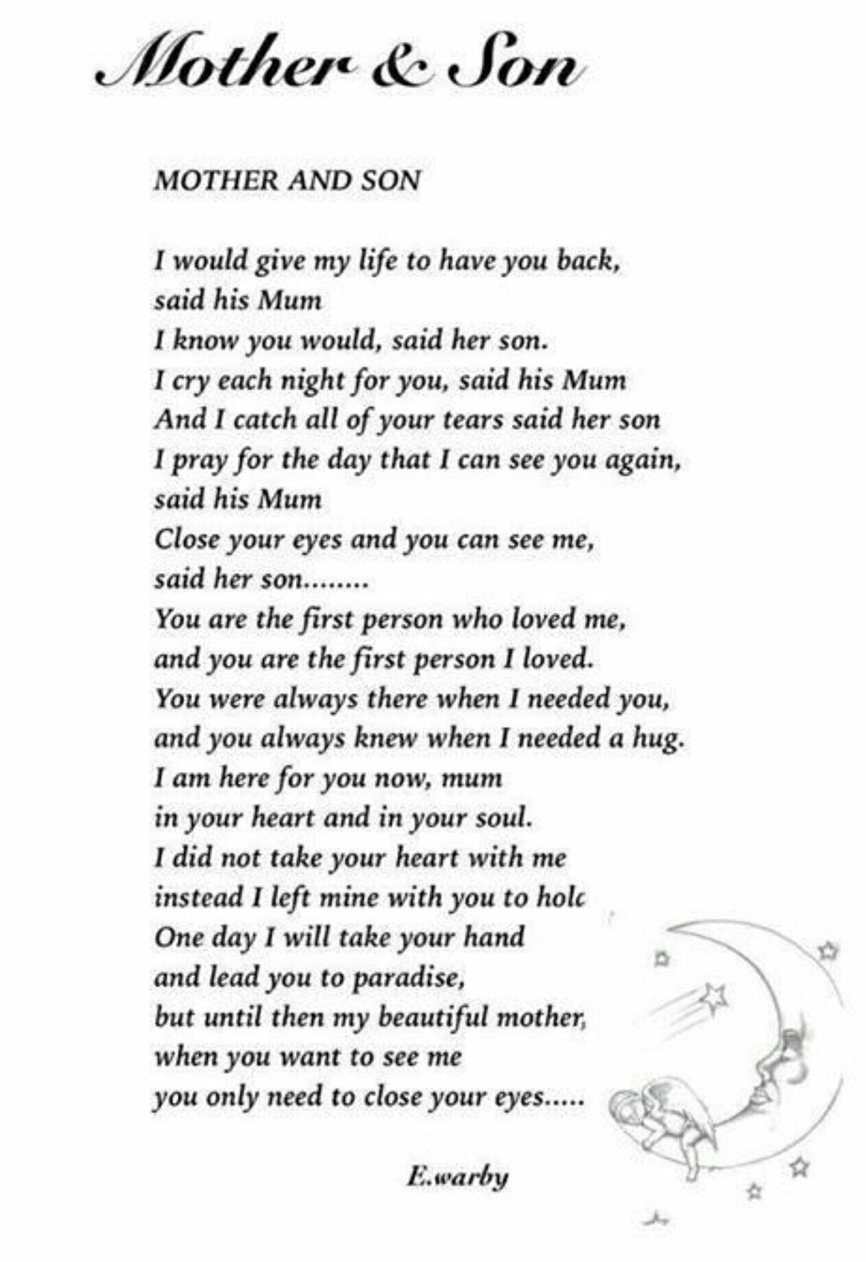 Breaks my heart. What a beautiful poem! | Son poems, Son ...