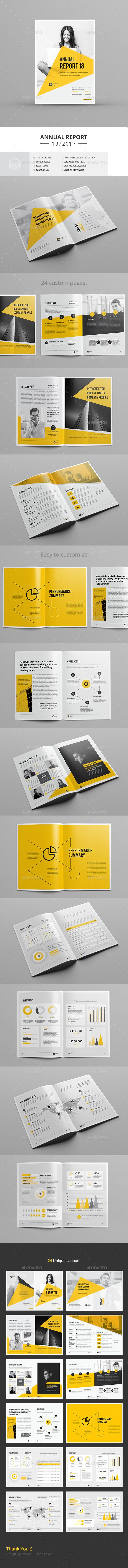 Annual Report Template — InDesign INDD #yellow #a4 • Download ...