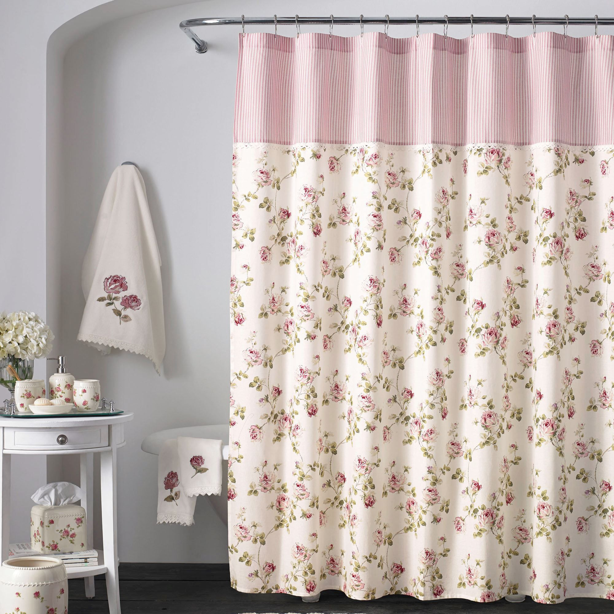 Rosalie Pink Floral Shower Curtain By Piper & Wright