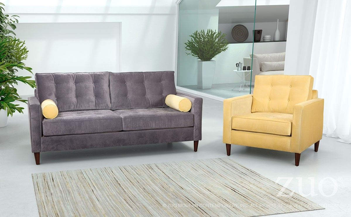Savannah Sofa In Slate/Golden | 100178 | Zuo Modern