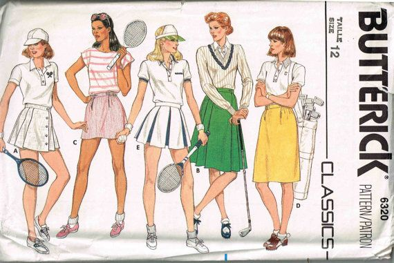 Tennis Bloomers Golf Pleated Skirt Classics Butterick 6320 Etsy Tennis Skirt Golf Skirts Sports Skirts