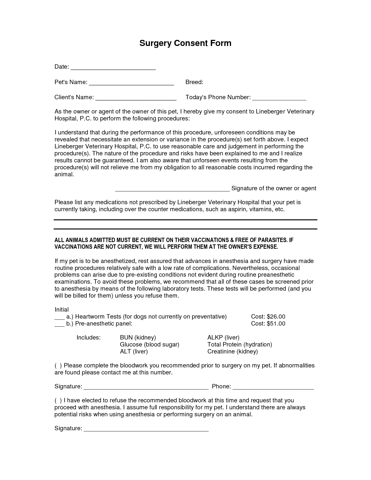 Surgery Consent Forms Templates  Consent Form