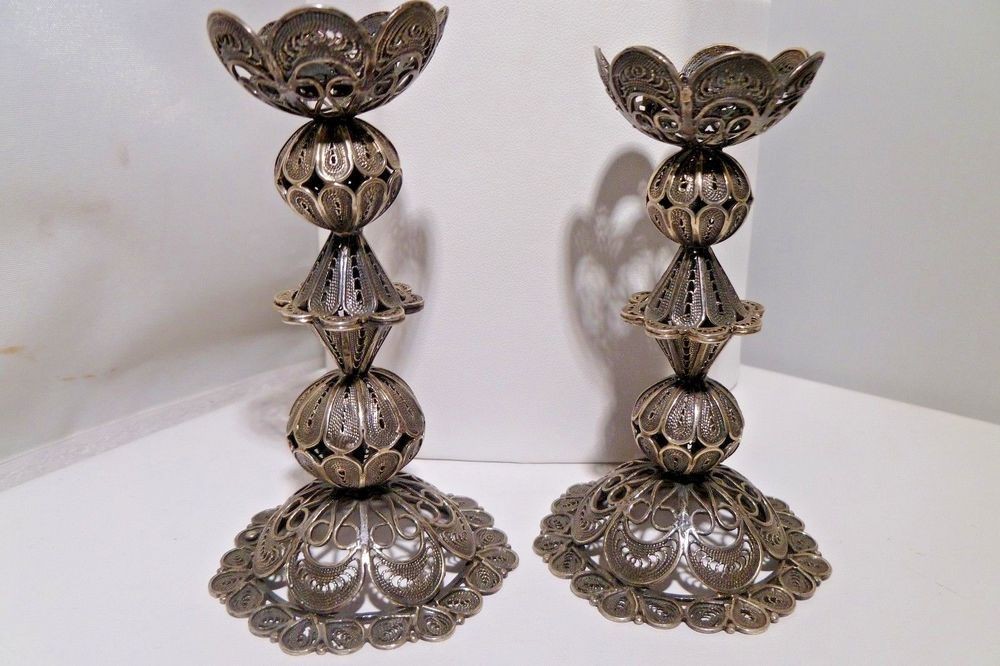 Shabbat Shalom Candlesticks Yemenite Art 925 Handmade Sterling Silver  Filigree 5d70d9f0cd