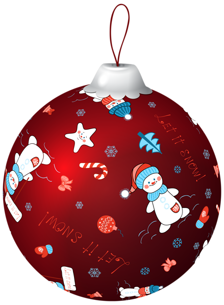 Red Christmas Ball with Snowman PNG Clip Art Image | ~ Christmas ...