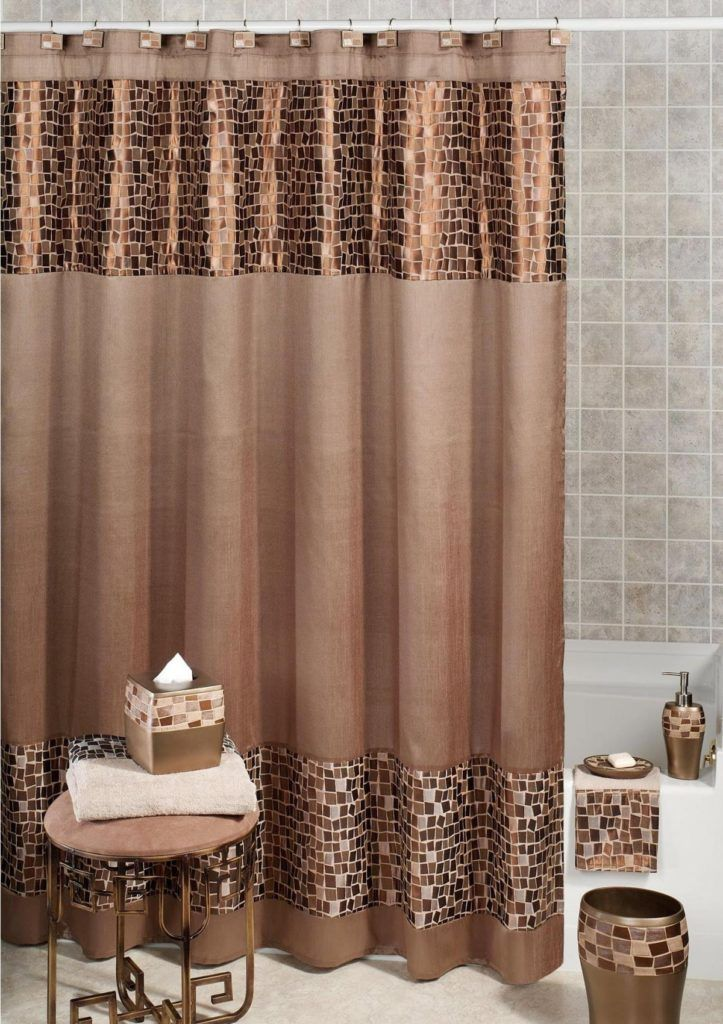 Turquoise And Brown Fabric Shower Curtains
