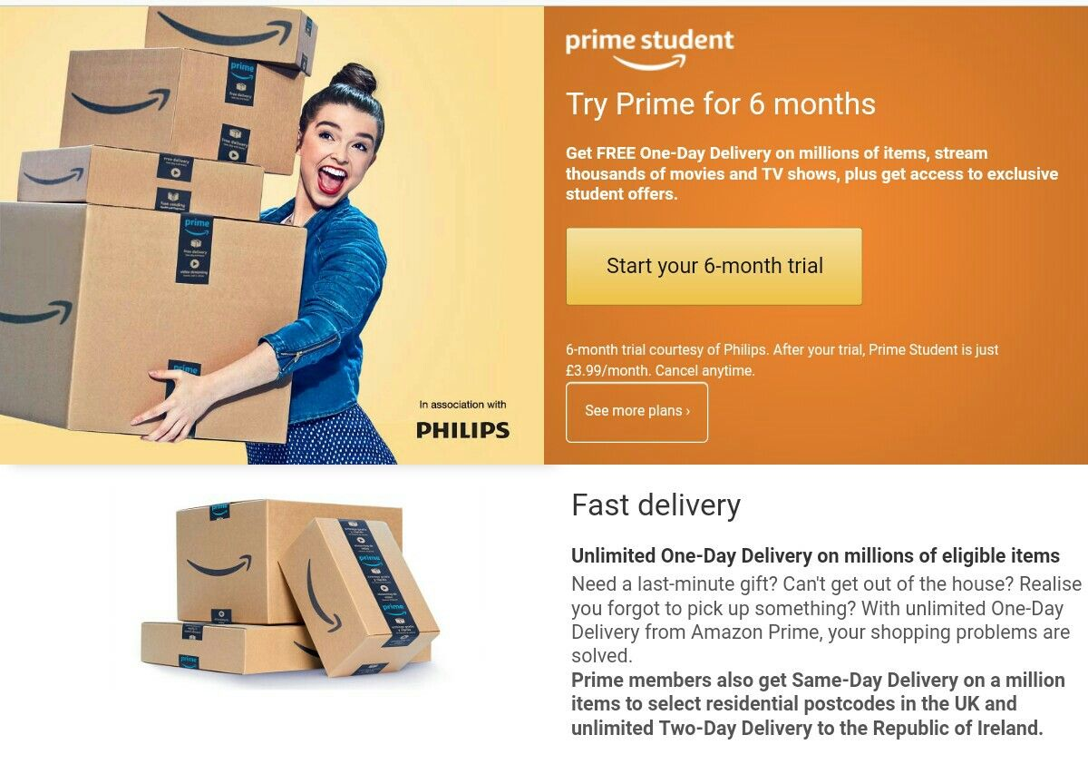 6 Months Amazon Student Free Trial Cancel Anytime Fast Delivery