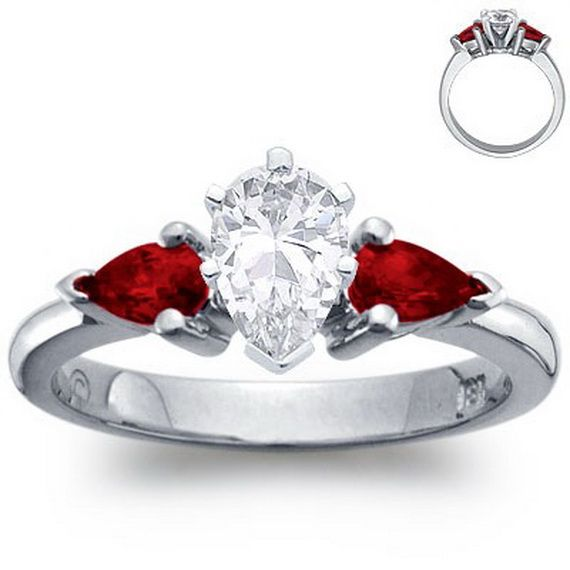 Ruby engagement ring; my wedding band is ruby:) WANT!!!!