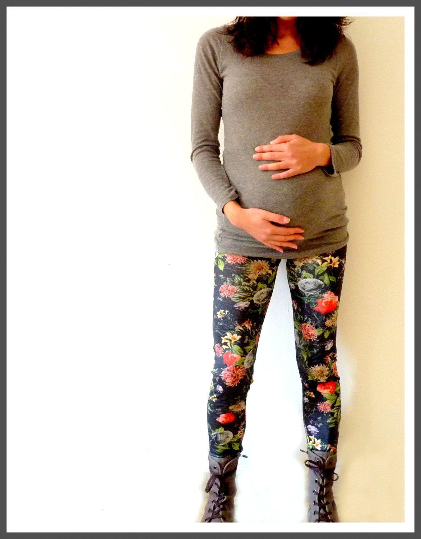 Flowers maternity leggings maternity pants cute