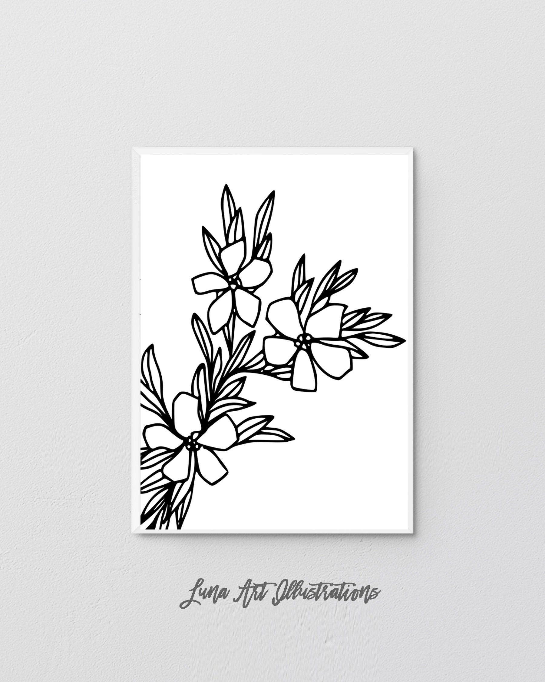 Minimalist Floral Drawing Print Botanical Line Drawing Garden Flower Wall Art Abstract One Line Sketch Plant Lovers Gift Digital Art En 2020 Dessin Floral Dessin Trait Dessin