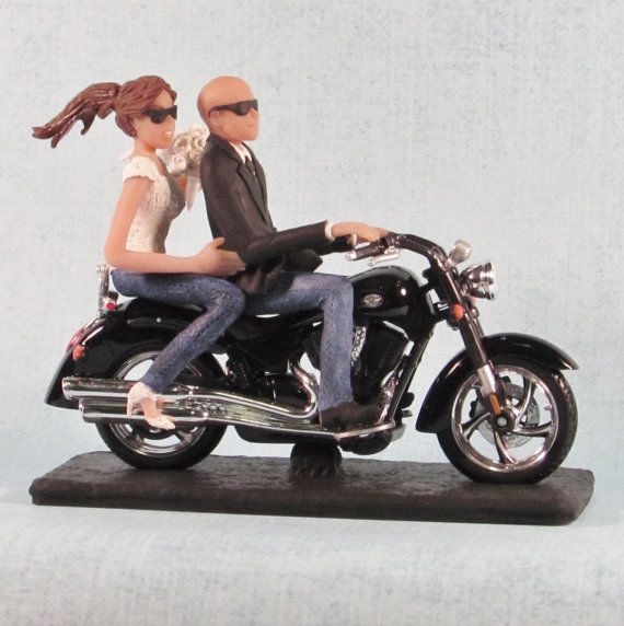 Motorcycle Wedding Cake Topper Couple With Sunglasses And Bald Groom By CakeTopCreations On Etsy Or Caketopcreations