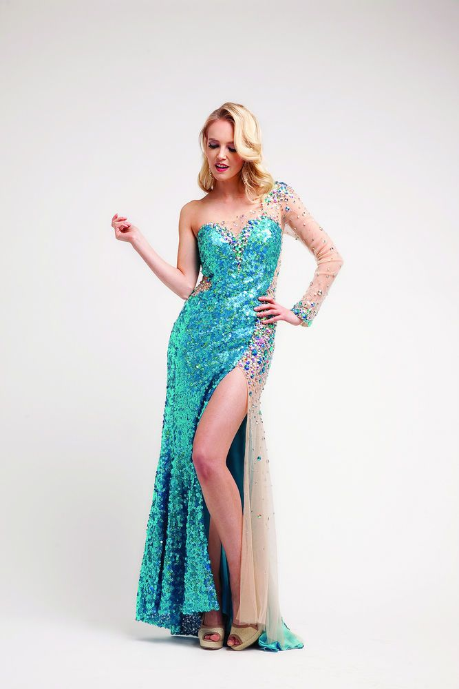 Long One Sleeve Sweetheart Sequin Prom Dress Pop Sheer Homecoming ...