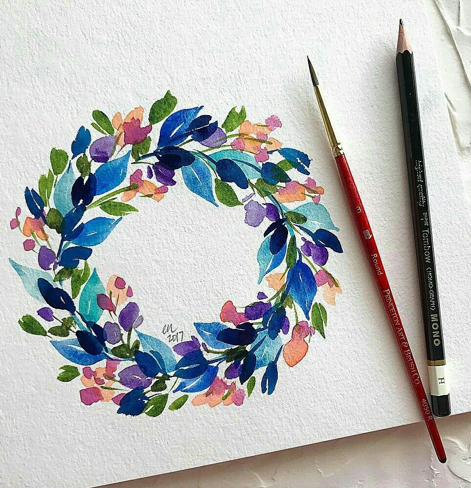 Photo of Watercolor – colorful floral wreath