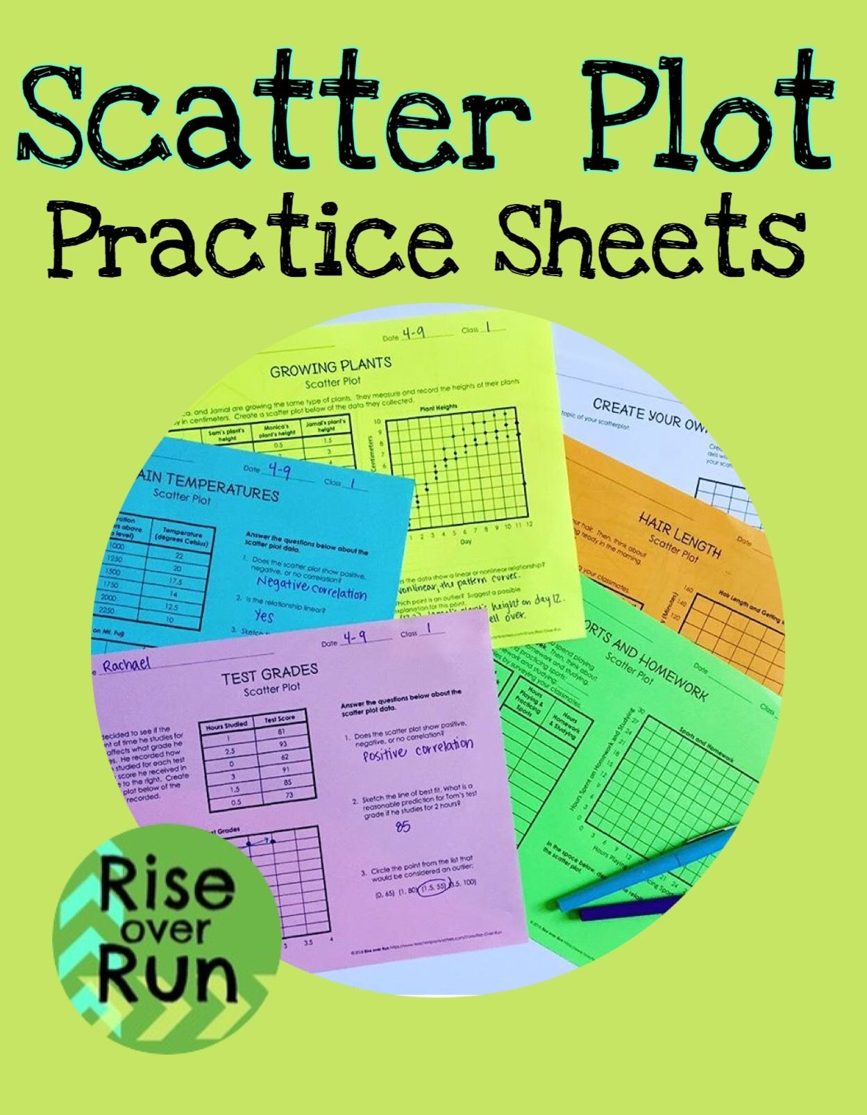 medium resolution of Scatter plot practice worksheets and blank template to create your own.  Line of best fit