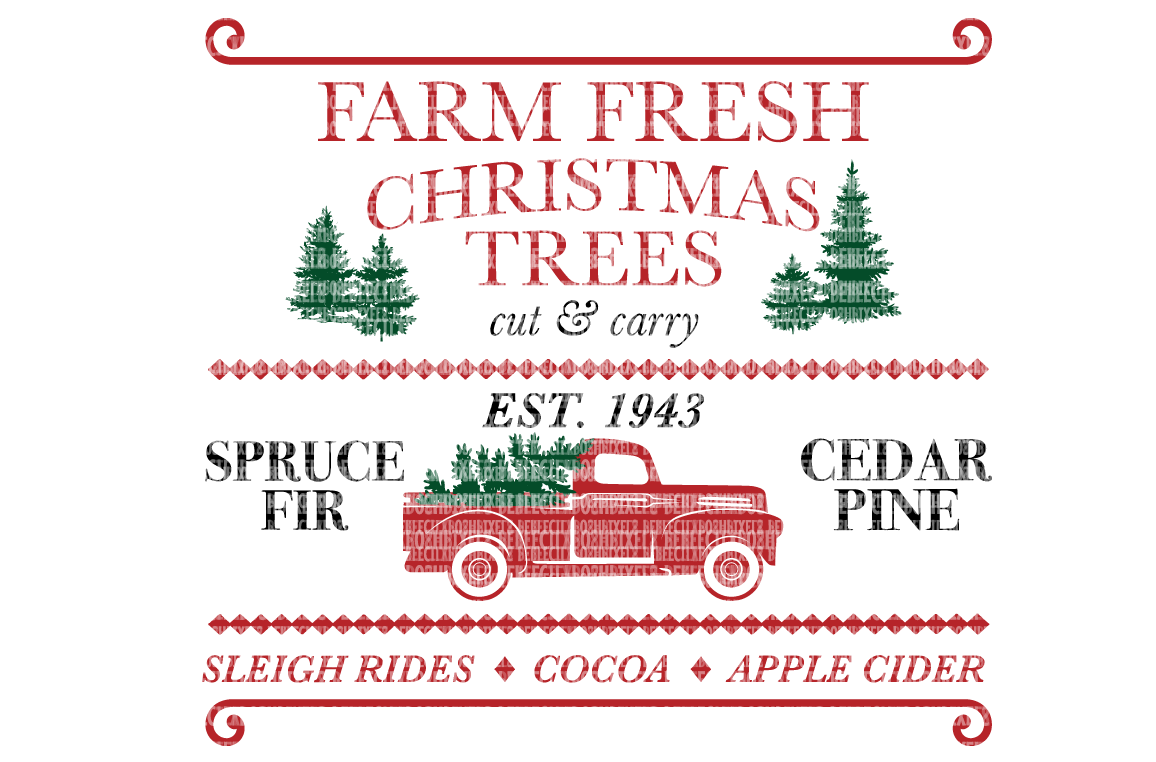I bought this design Fresh christmas trees, Red truck