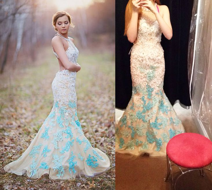 feee0e5986e Pastel Light Blue Halter Straps Beaded Lace Mermaid Long Prom Dress 2015  With Mix Color Appliques Backless Evening Formal Dress
